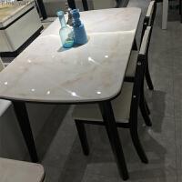 大理石餐桌长方形现代简约烤漆实木中小户型4人6人餐桌椅组合饭桌