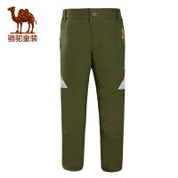 骆驼户外男童抗静电防水儿童松紧腰夹棉保暖冲锋裤