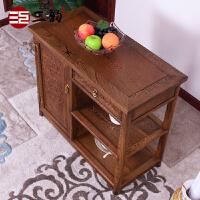 家具中式实木餐边柜鸡翅木茶水柜边柜茶柜柜子储物柜厨房厨柜 单门