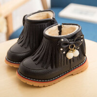2018冬季儿童棉鞋女童宝宝流苏短靴加绒保暖马丁靴公主短靴雪地靴