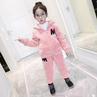 小孩女小童冬季套装洋气棉衣服女童冬装儿童金丝绒加绒加厚两件套 粉色【双面加绒 内里夹棉】