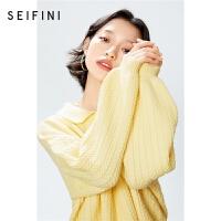 诗凡黎毛针织衫女2021年新款春装黄色polo领宽松套头显瘦长袖毛衣