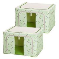 牛津布收纳箱钢架整理箱80L大号衣服收纳折叠收纳盒百纳箱 80L两个