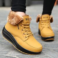 雪地靴女短筒靴冬季保暖加绒真皮短靴子女鞋厚底靴加厚棉鞋