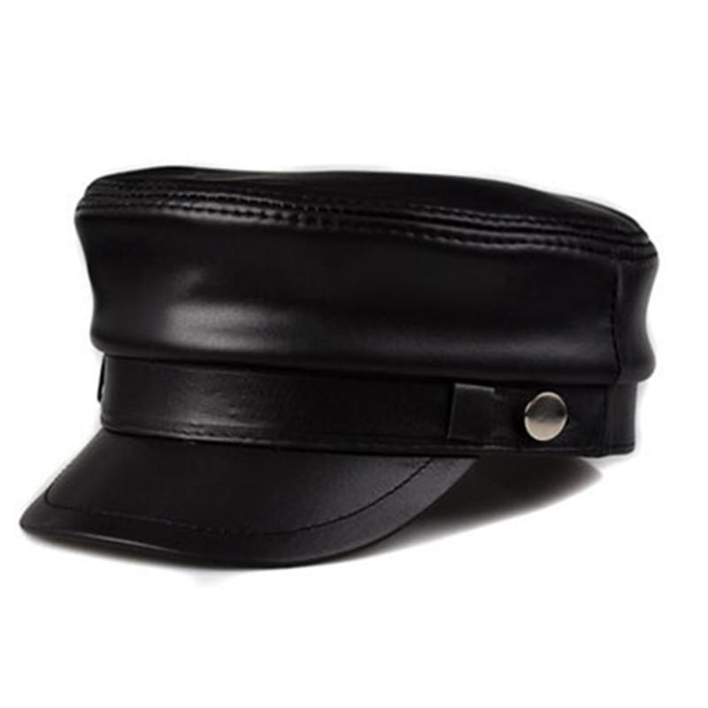 男士羊皮帽子 秋冬天 休闲学生帽 复古海军帽 鸭舌帽