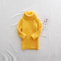 女童毛衣高领2017新款宝宝雪尼尔线衣加厚中长款针织衫儿童打底衫 黄色 雪尼尔毛衣