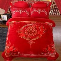 婚庆拉舍尔毛毯结婚双层毯子大红色双人加厚盖毯被子毛毯冬季绒毯 喜庆中国结8斤 200cmx230cm误差5cm