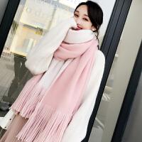 围巾女秋冬季韩版加厚可爱学生情侣ins少女士毛线diy围脖 双面 粉色 白加厚