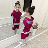 童装女童运动套装休闲5-7-9-11-13岁女宝宝三件套儿童外套裙裤潮