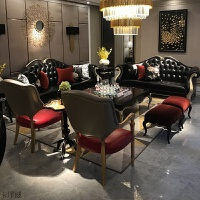 欧式沙发新古典真皮沙发组合简约美式轻奢客厅实木家具小户型简欧 组合