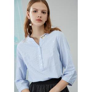 熙世界韩版V领大码七分袖2019春装新款衬衫女113LC024