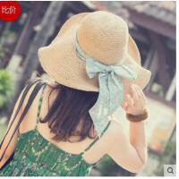 遮阳帽女夏天防晒沙滩帽子 海边大沿太阳帽可折 叠度假出游草帽甜美
