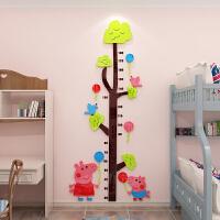 宝宝女卡通3D立体量身高贴亚克力墙贴身高尺家用儿童房间装饰贴纸 浅绿+咖啡+粉红+大红+天蓝 小
