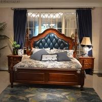 美式乡村实木床1.8米双人床主卧家具婚床开放漆全实木家具 桃花芯木真皮床 1800mm*2000mm