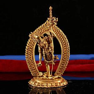 道法加持 老纯铜纯手工打造鎏金空行母一尊