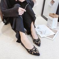 春季百搭韩版学生一脚蹬浅口复古豆豆鞋女鞋尖头平底单鞋