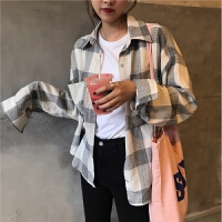 格格衬衫女宽松韩版bf复古百搭韩国学生单排扣长袖格子衬衣外套秋