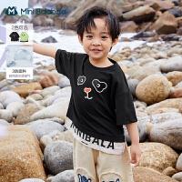 迷你巴拉巴拉男童夏装防油防污儿童假两件短袖T恤2021宝宝夏新款