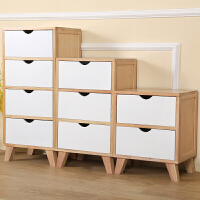 北欧实木床头柜白色收纳小柜子组合储物柜创意简约现代卧室床边柜 整装