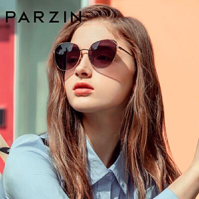 帕森太阳镜 女士金属猫眼大框尼龙镜片潮墨镜驾驶镜 2019新品8201 新型猫眼设计 多彩尼龙镜片
