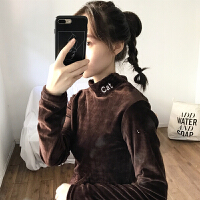 秋冬韩版修身百搭金丝绒字母刺绣打底衫半高领T恤学生长袖上衣女
