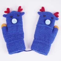 男女儿童全包指毛线手套冬季韩版可爱卡通加绒加厚保暖针织挂脖秋冬天
