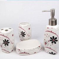炫彩花纹陶瓷卫浴四件套 欧式卫浴四件套创意浴室用品套件玻璃新婚礼物漱口杯洗漱礼盒套装