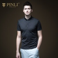 PINLI品立2020夏季新款男�b修身�l�y短袖POLO衫T恤上衣B192412423