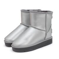 冬季新款保暖厚底�仍龈哐┑匮ロn版�W生短筒棉鞋加�q短靴真皮女靴