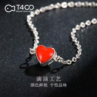T400 红色桃心银手链女日韩版简约个性甜美学生森系闺蜜时尚首饰品爱心 3873