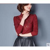 秋冬装钉珠网纱大码上衣小衫加绒加厚蕾丝打底衫女长袖修身