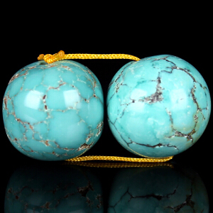 原矿高瓷绿松石一对圆珠对珠 直径12mm