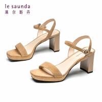 莱尔斯丹 一字带粗跟女晚晚鞋温柔风仙女搭配裙子的凉鞋AM59605