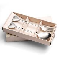 可爱心型柄叉勺套装礼盒装创意心形不锈钢便携餐具套装