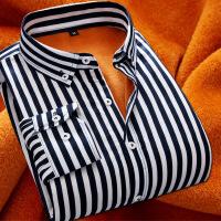 加绒加厚新款长袖男条纹衬衫商务休闲青年工装打底保暖韩版衬衣寸