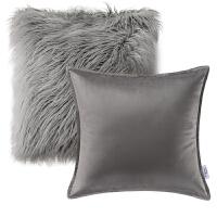抱枕两件套纯色天鹅绒沙发靠垫套客厅卧室毛绒粉色北欧式靠枕