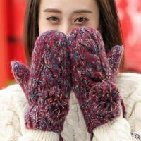 毛线手套女网红同款时尚韩版可爱学生连指保暖户外运动新品骑车加厚加绒毛线手套