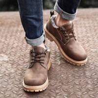 冬季新款男士休闲鞋时尚加绒保暖男鞋潮流棉鞋男圆头工装鞋男鞋子 CF G80