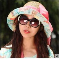 女士大沿太阳帽沙滩帽防 夏天韩版 可折叠草帽防 紫外线遮阳帽