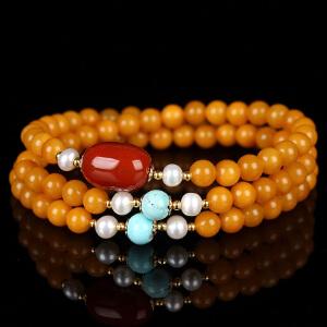 蜜蜡满蜡圆珠创意DIY绕3圈手链     配南红桶珠