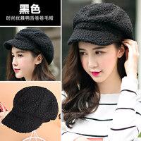 时尚韩版卷卷可爱女士贝雷帽保暖仿羊羔毛时尚鸭舌帽