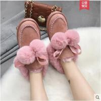 冬季新款韩版毛球雪地靴女中筒女靴冬季防滑鞋子棉短靴女鞋潮