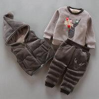 装加厚加绒卫衣男女宝宝童装婴幼儿服装三件套13岁外出套装 深灰色 银狐绒小鹿深灰色