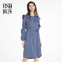 OSA【满200减100,上不封顶】欧莎2018春装新款女装淑女系带收腰连衣裙