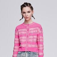 dzzit地素 2019夏装新款抽象条纹绞花短款针织衫开衫女3G1E5111I