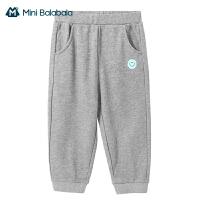 迷你巴拉巴拉儿童加绒长裤2021春外穿新款男童女童针织保暖潮