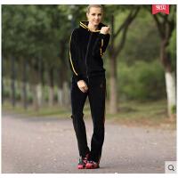 女韩版时尚保暖休闲跑步服长裤 天鹅绒运动套装