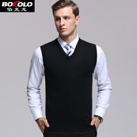 伯克龙 男士背心针织衫V领商务马甲男装纯色修身保暖套头毛线衣外套 Z1680