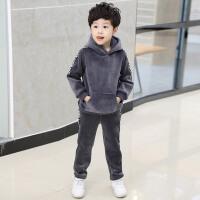 童装男童装套装加厚2017新款儿童金丝绒卫衣韩版秋两件套潮衣 款拉绒织带套装 灰色