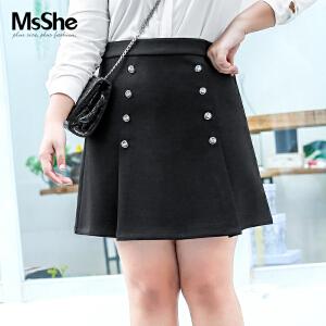 MsShe加大码女装2017新款冬装学院风双排扣半身裙短裙M1740105